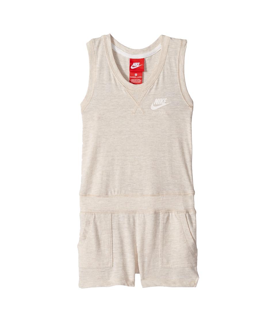 Nike Kids - Gym Vintage Romper (Toddler) (Oatmeal) Girl's...
