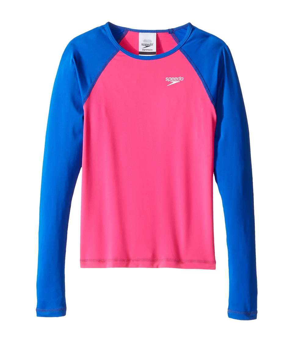 Speedo Kids Long Sleeve Rashguard (Big Kids) (Electric Pink) Girl