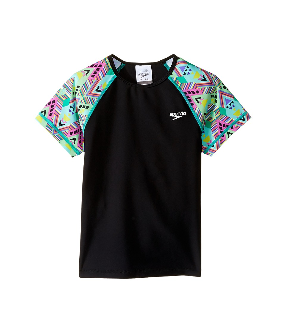 Speedo Kids Printed Short Sleeve Rashguard (Little Kids/Big Kids) (Speedo Black) Girl
