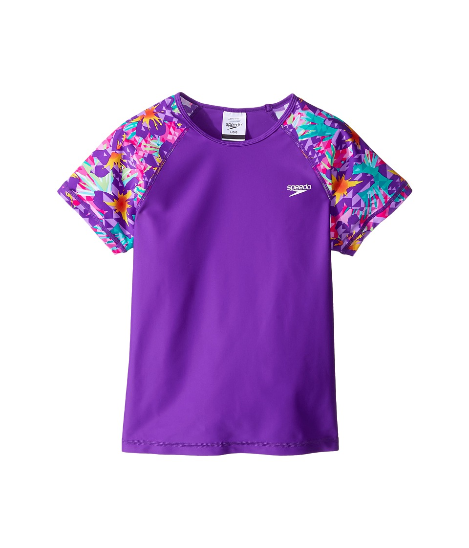 Speedo Kids Printed Short Sleeve Rashguard (Little Kids/Big Kids) (Speedo Purple) Girl