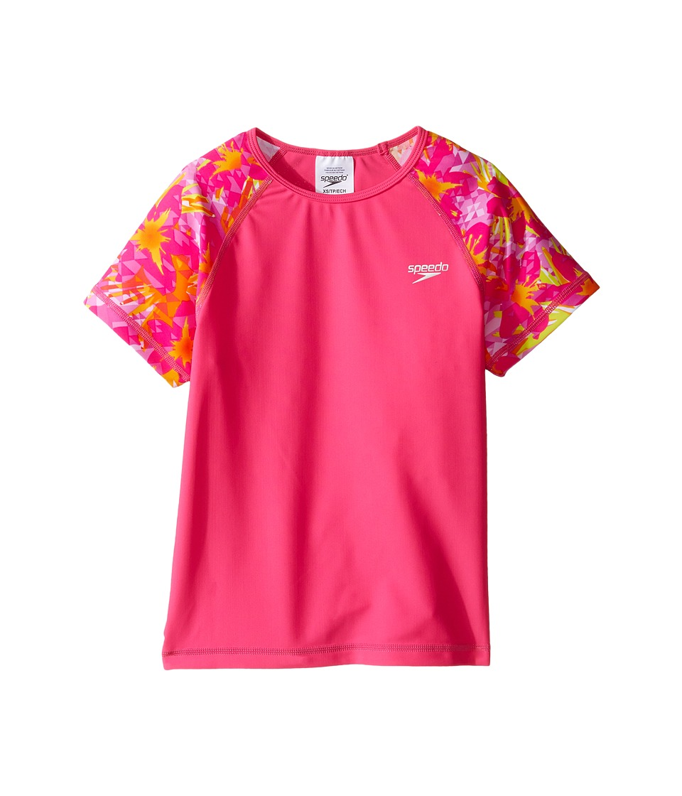 Speedo Kids Printed Short Sleeve Rashguard (Little Kids/Big Kids) (Electric Pink) Girl