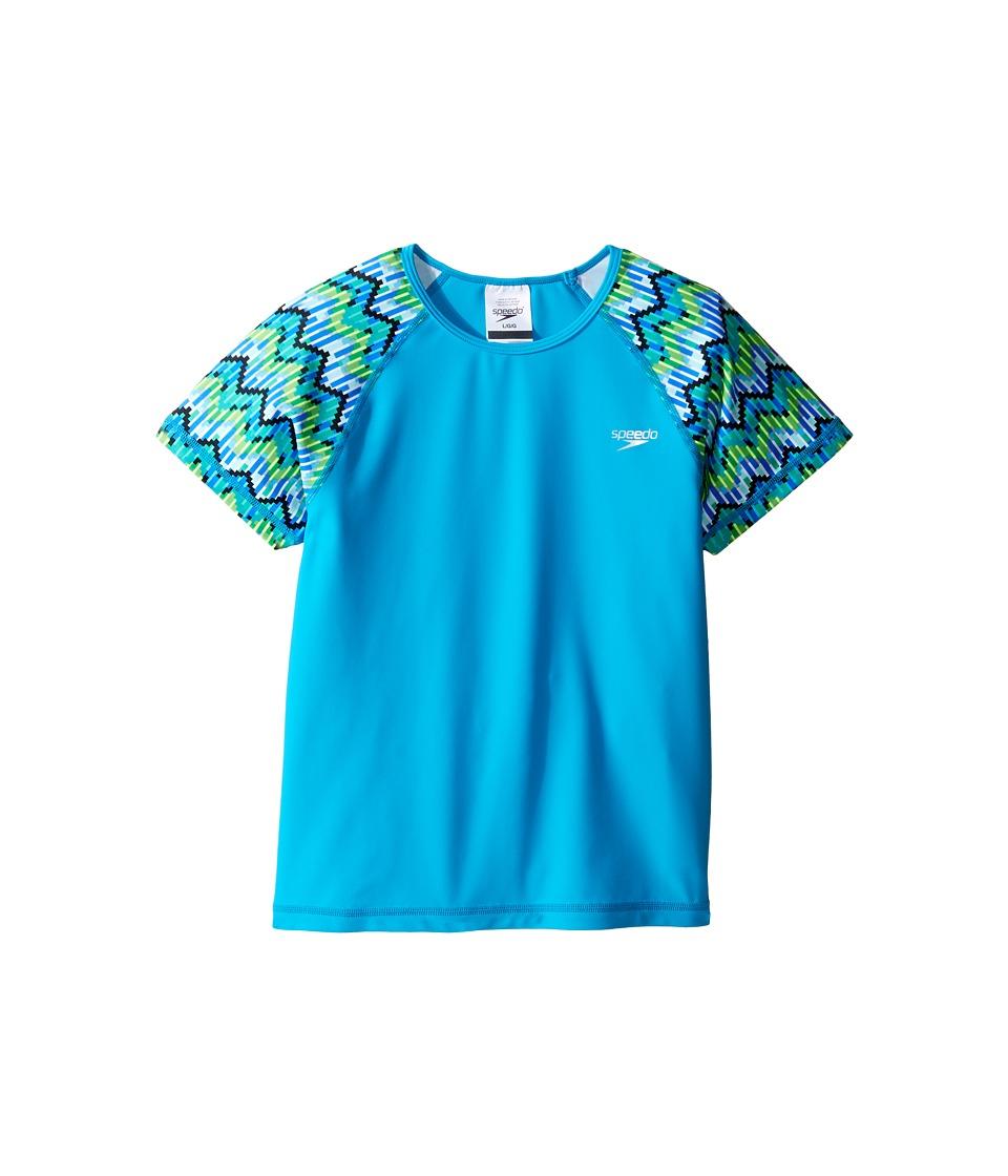 Speedo Kids Printed Short Sleeve Rashguard (Little Kids/Big Kids) (Blue) Girl