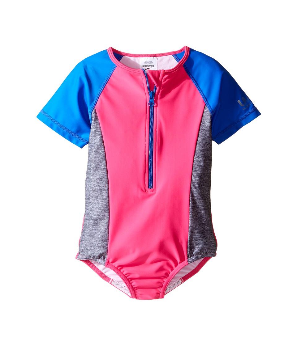 Speedo Kids - Short Sleeve Zip One-Piece Swimsuit