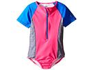 Speedo Kids - Short Sleeve Zip One-Piece Swimsuit (Little Kids)