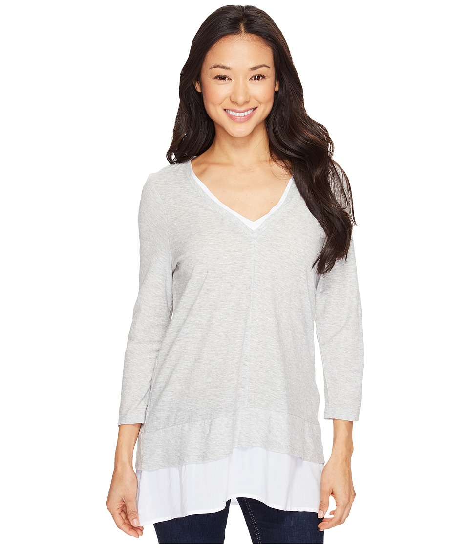 TWO by Vince Camuto - Double Layer Mixed Media V-Neck Top
