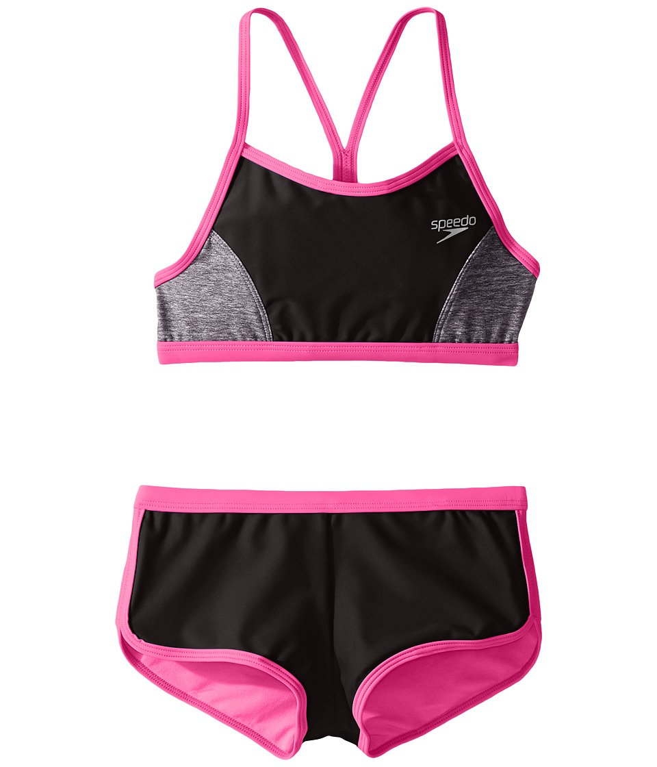 Speedo Kids - Heather Splice Boyshorts Two-Piece Swimsuit Set