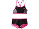 Speedo Kids - Heather Splice Boyshorts Two-Piece Swimsuit Set (Big Kids)