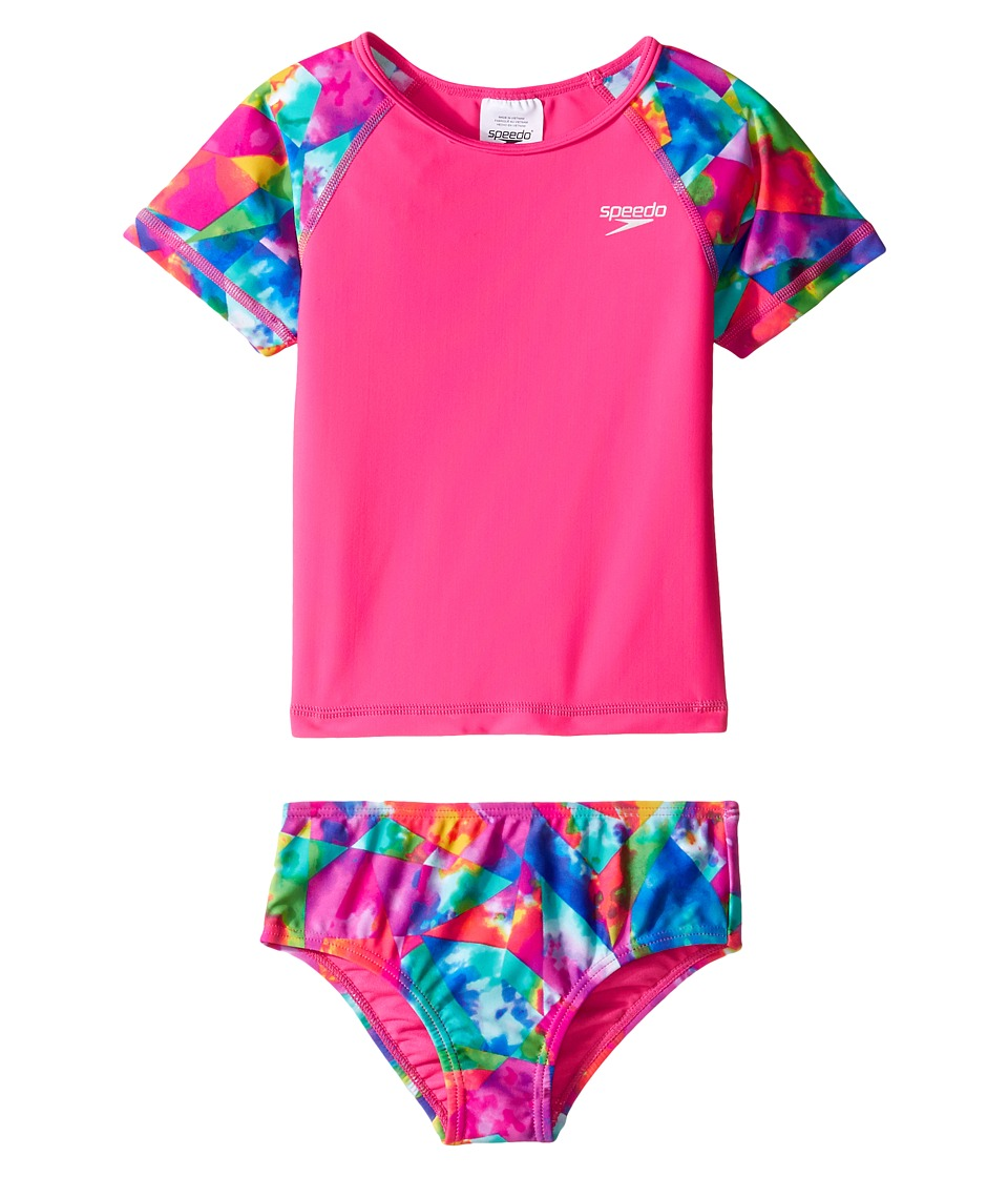 Speedo Kids Printed Short Sleeve Rashguard Two-Piece Swimsuit Set (Infant/Toddler) (Electric Pink) Girl