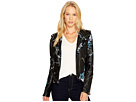 Blank NYC - Black Vegan Leather Moto Graphic Studded Jacket in Teen Dream