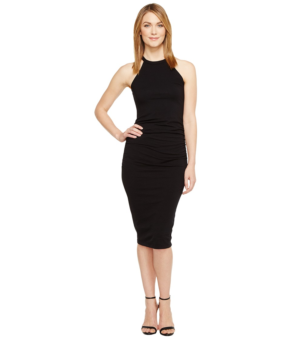 Michael Stars Halter Midi Dress w/ Shirring (Black) Women