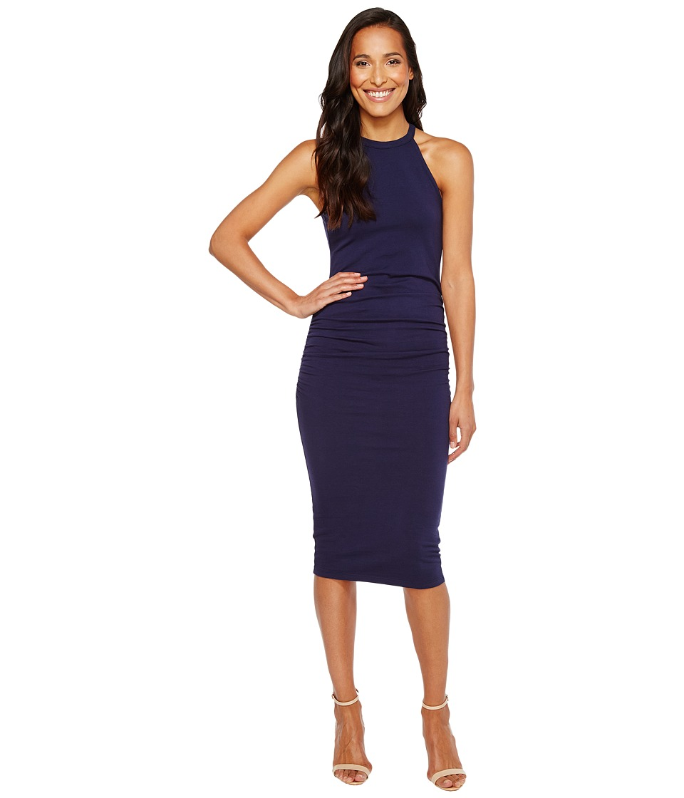 Michael Stars Halter Midi Dress w/ Shirring (Nocturnal) Women