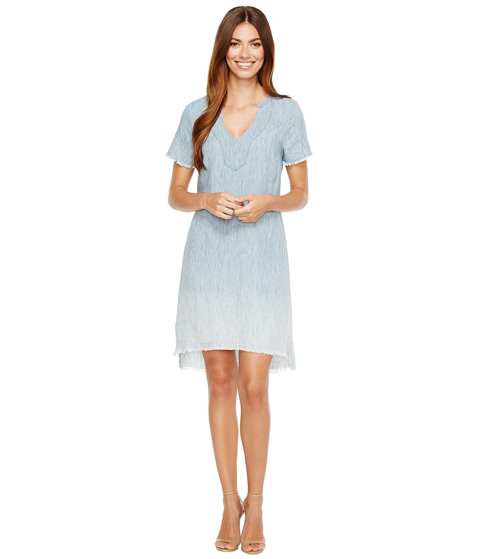 Michael Stars Linen Denim Tencel Split-Neck Dress (Ombre Wash) Women