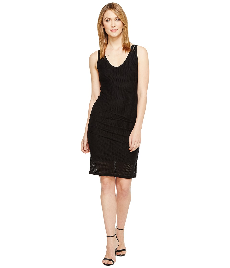 Michael Stars Mesh V-Neck Dress (Black) Women
