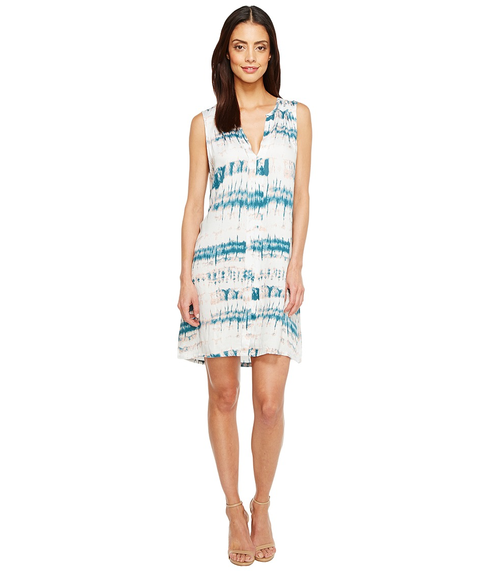Michael Stars Shibori Print Pleat Front Dress (Mediterranean) Women