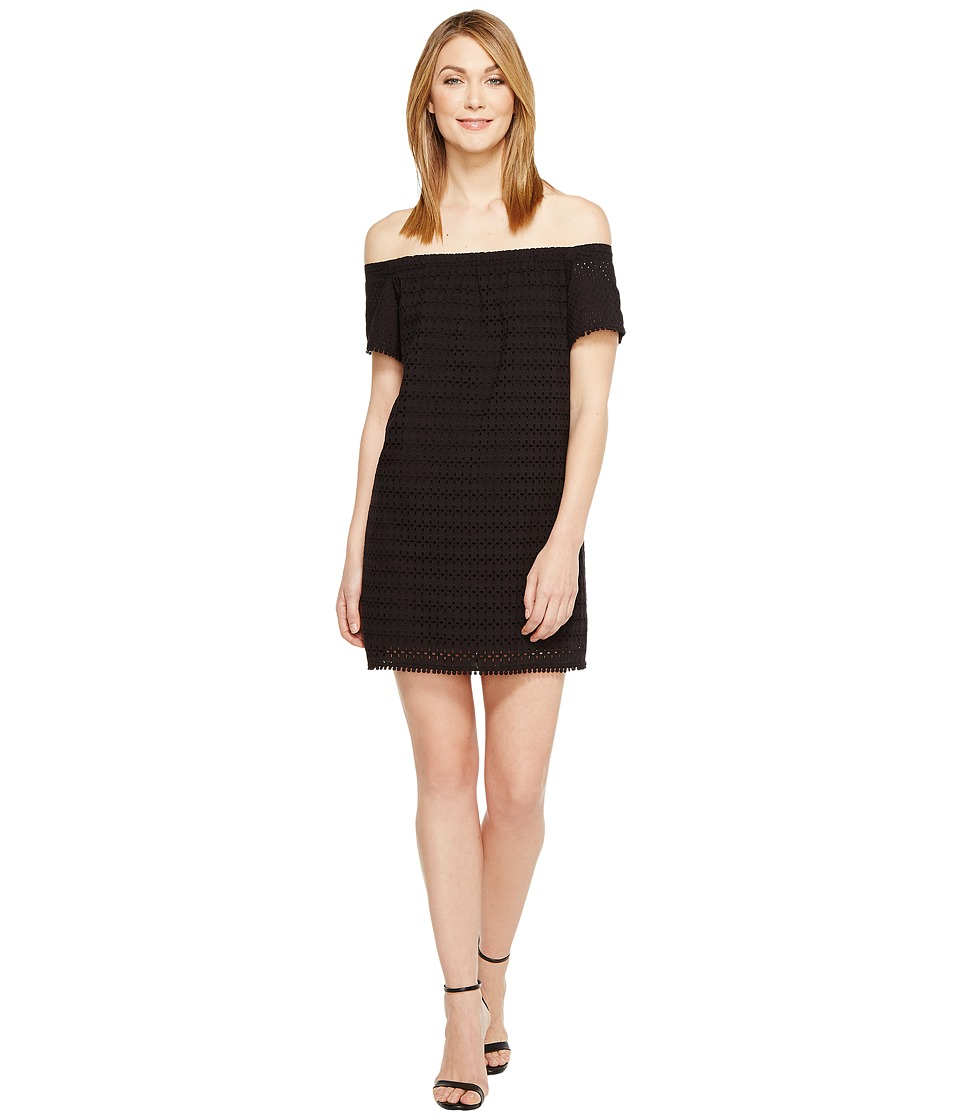 Michael Stars Eyelet Off the Shoulder Dress (Black) Women