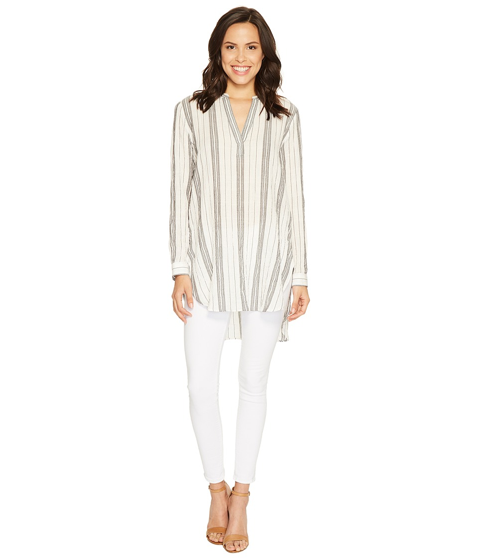 TWO by Vince Camuto - Long Sleeve Crinkle Cotton Stripe Split-Neck Popover