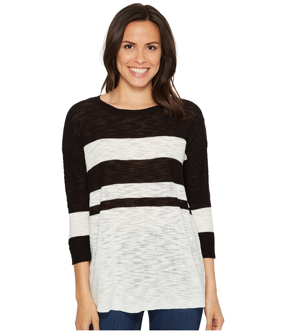TWO by Vince Camuto - Lightweight Uneven Stripe Scoop Neck Slub Pullover