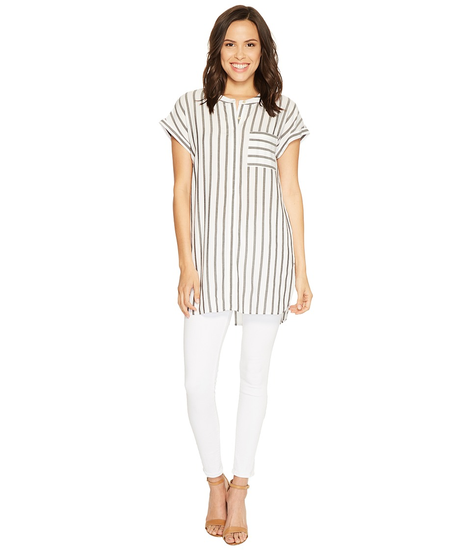 TWO by Vince Camuto - Extend Roll Sleeve Gentile Stripe One-Pocket Tunic