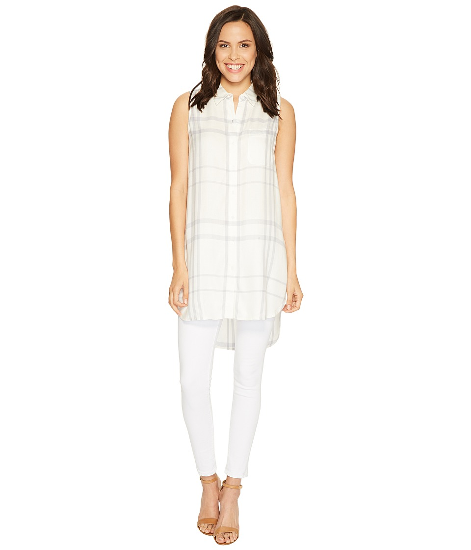TWO by Vince Camuto - Sleeveless Tranquil Plaid One-Pocket Long Tunic