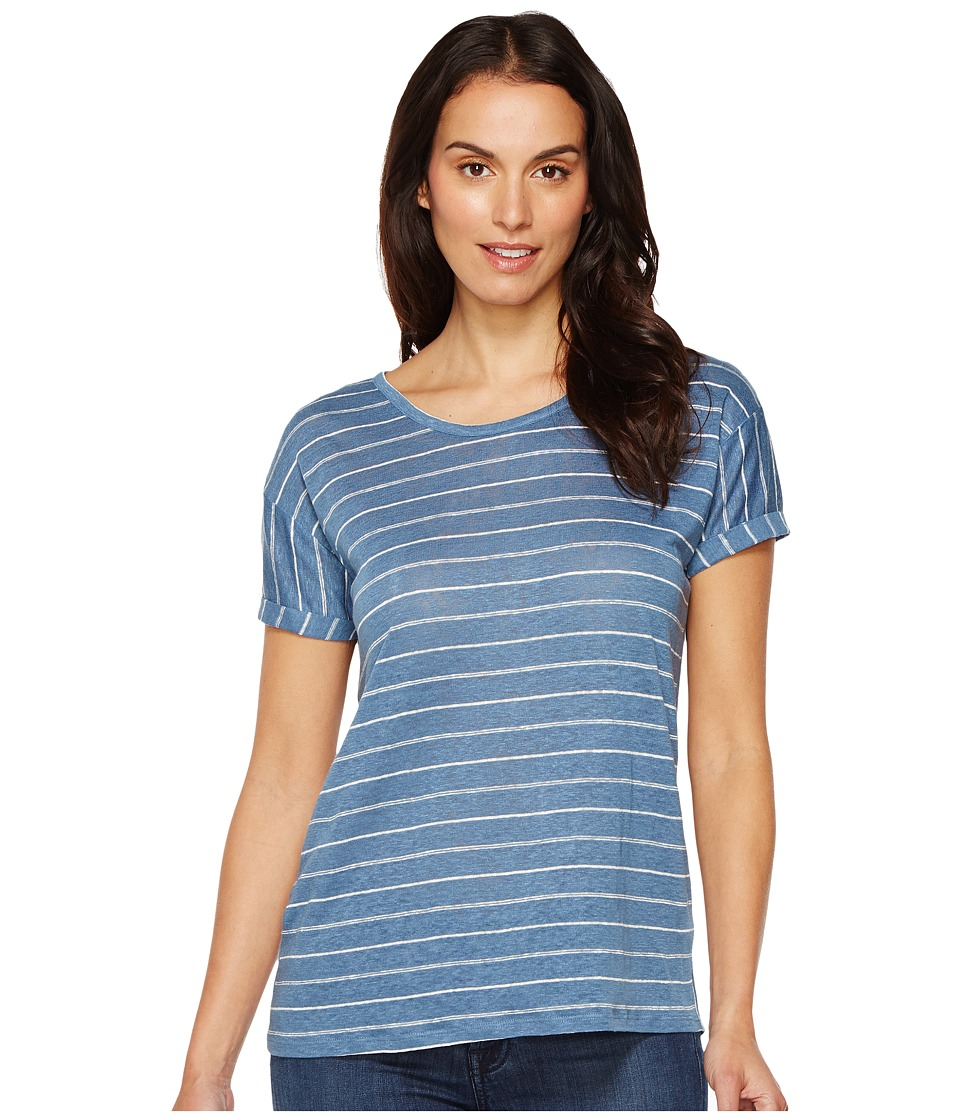TWO by Vince Camuto Short Sleeve Tempo Stripe Yarn-Dye Linen Tee (Night Dive) Women