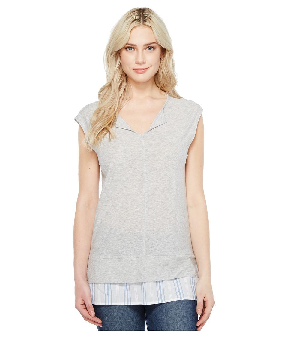 TWO by Vince Camuto Split-Neck Knit Tee w/ Seersucker Shirttail (Grey Heather) Women