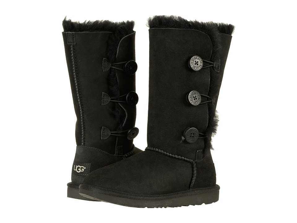 Ugg Kids - Bailey Button Triplet II (Little Kid/Big Kid) (Black) Girls Shoes