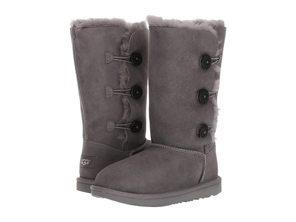Ugg Kids - Bailey Button Triplet II (Little Kid/Big Kid) (Grey) Girls Shoes