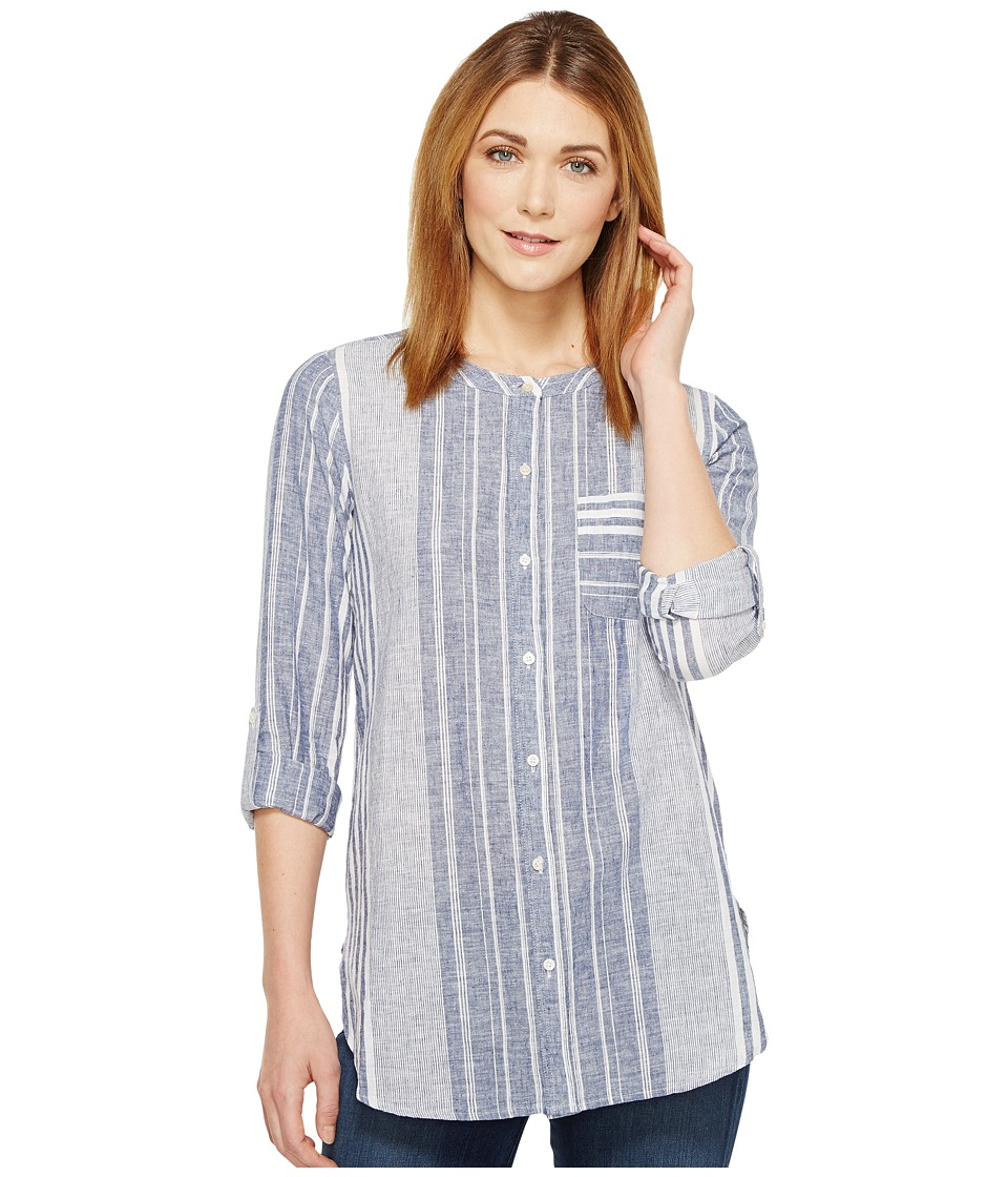 TWO by Vince Camuto - Variegated Stripe Collarless Linen Shirt