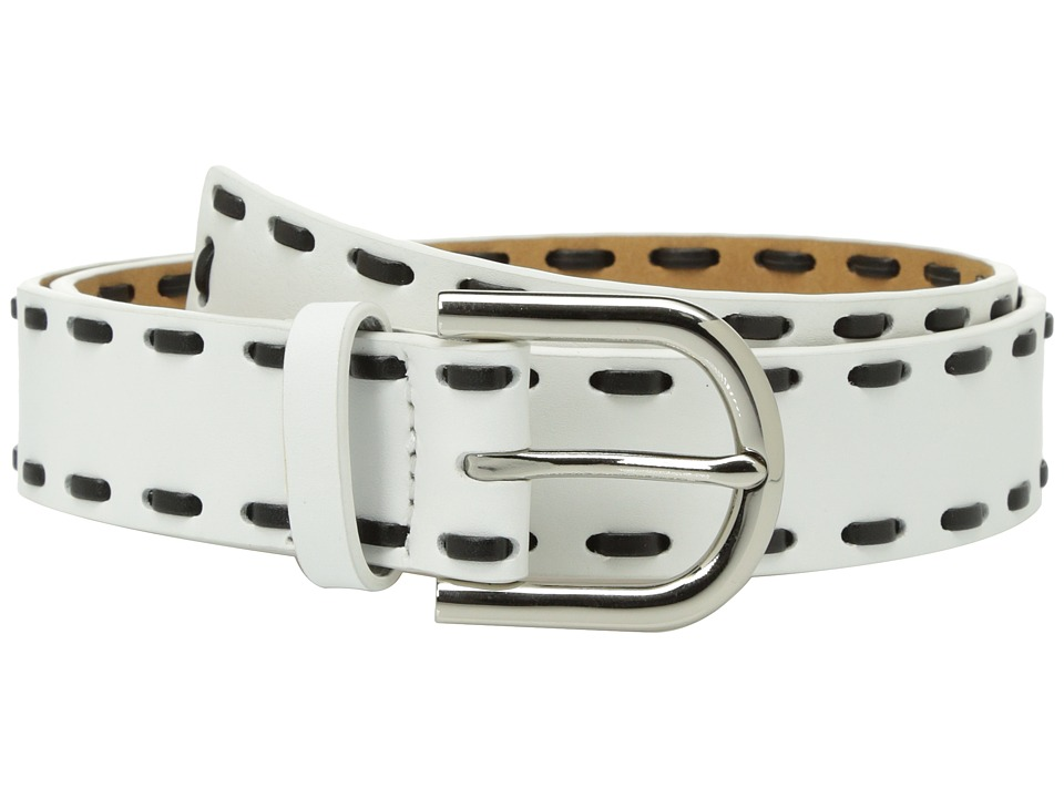 MICHAEL Michael Kors 32mm Smooth Leather Panel Belt with Lacing (White) Women