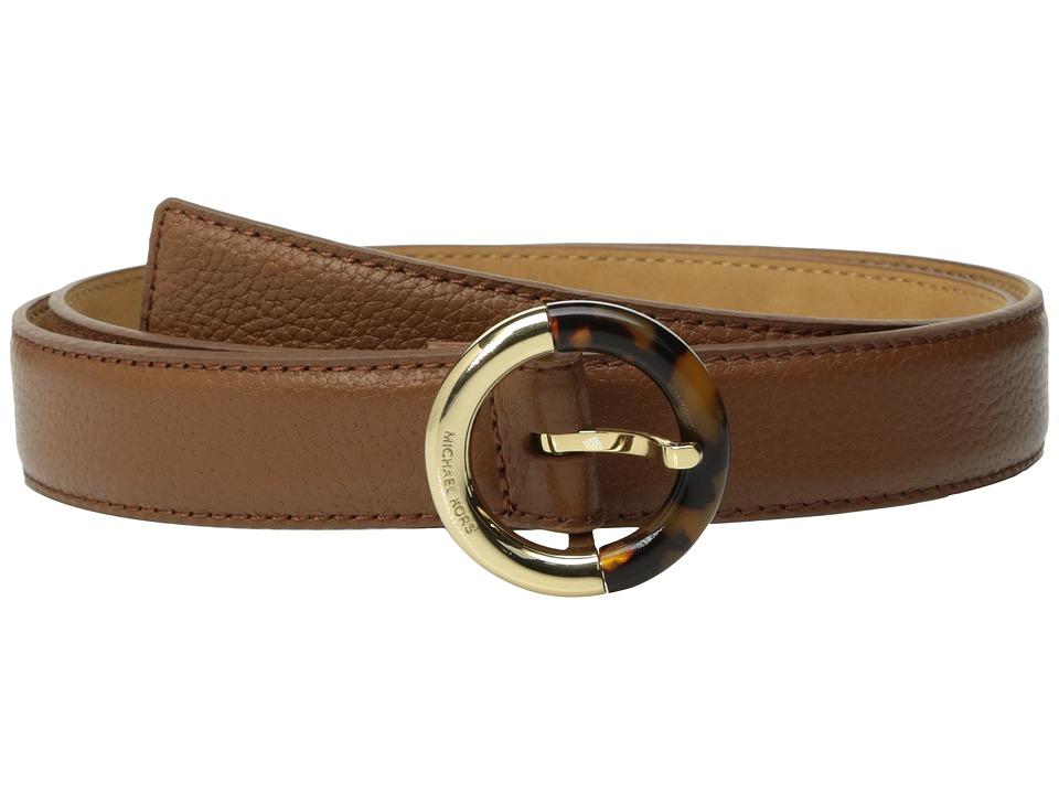 MICHAEL Michael Kors 25mm Feather Edge Pebble Panel Belt on Metal Buckle (Luggage) Women