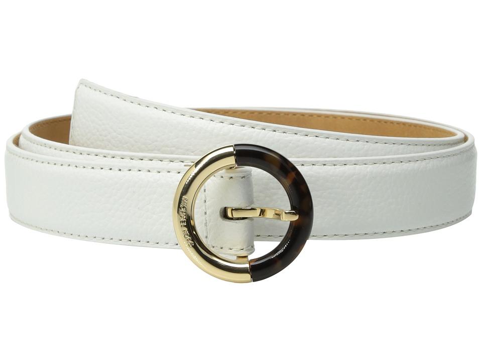 MICHAEL Michael Kors 25mm Feather Edge Pebble Panel Belt on Metal Buckle (White) Women