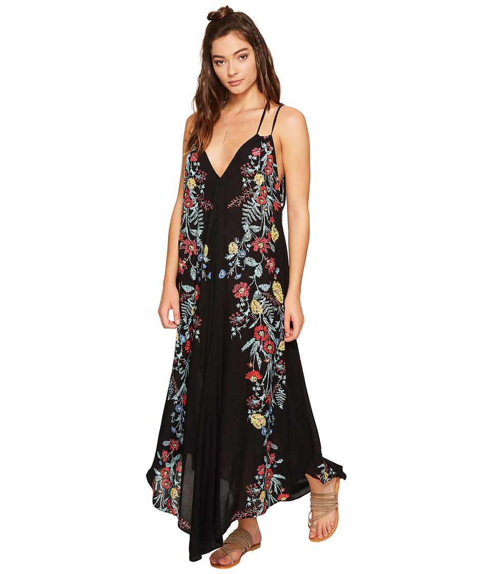 Free People Ashbury Printed Slip Dress (Black Combo) Women