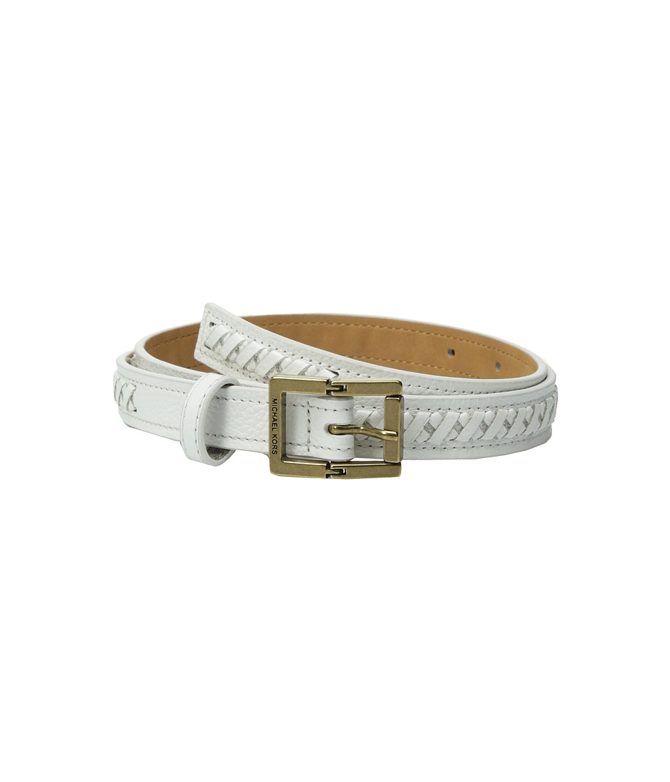 MICHAEL Michael Kors 20mm Pebble Panel Belt with Lacing (White) Women