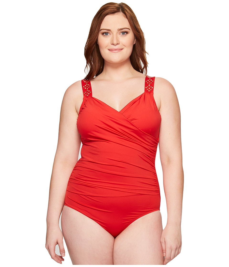 Jantzen Jantzen - Plus Size Solids Novelty Shoulder Draped Surplice One-Piece