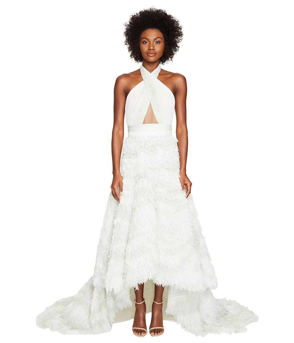 Marchesa Marchesa - Chiffon High-Low Ombre Halter Gown