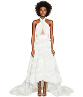 Marchesa - Chiffon High-Low Ombre Halter Gown