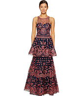 Marchesa Notte - All Over Embroidered Dress w/ Two Tiered Skirt