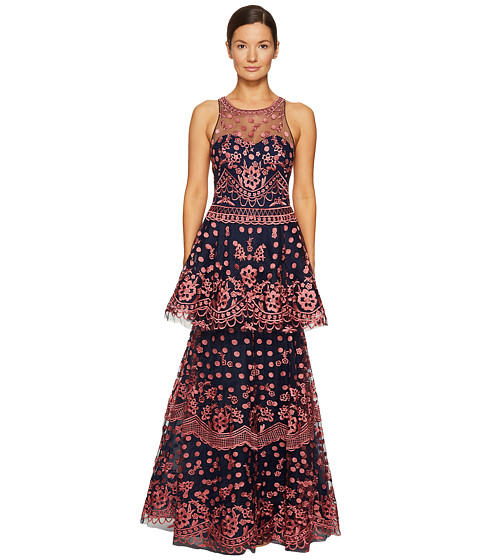 Marchesa Notte All Over Embroidered Dress w/ Two Tiered Skirt