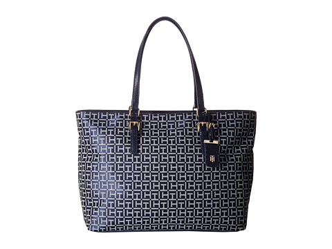 Tommy Hilfiger Julia Signature Jacquard Tote - Navy/White