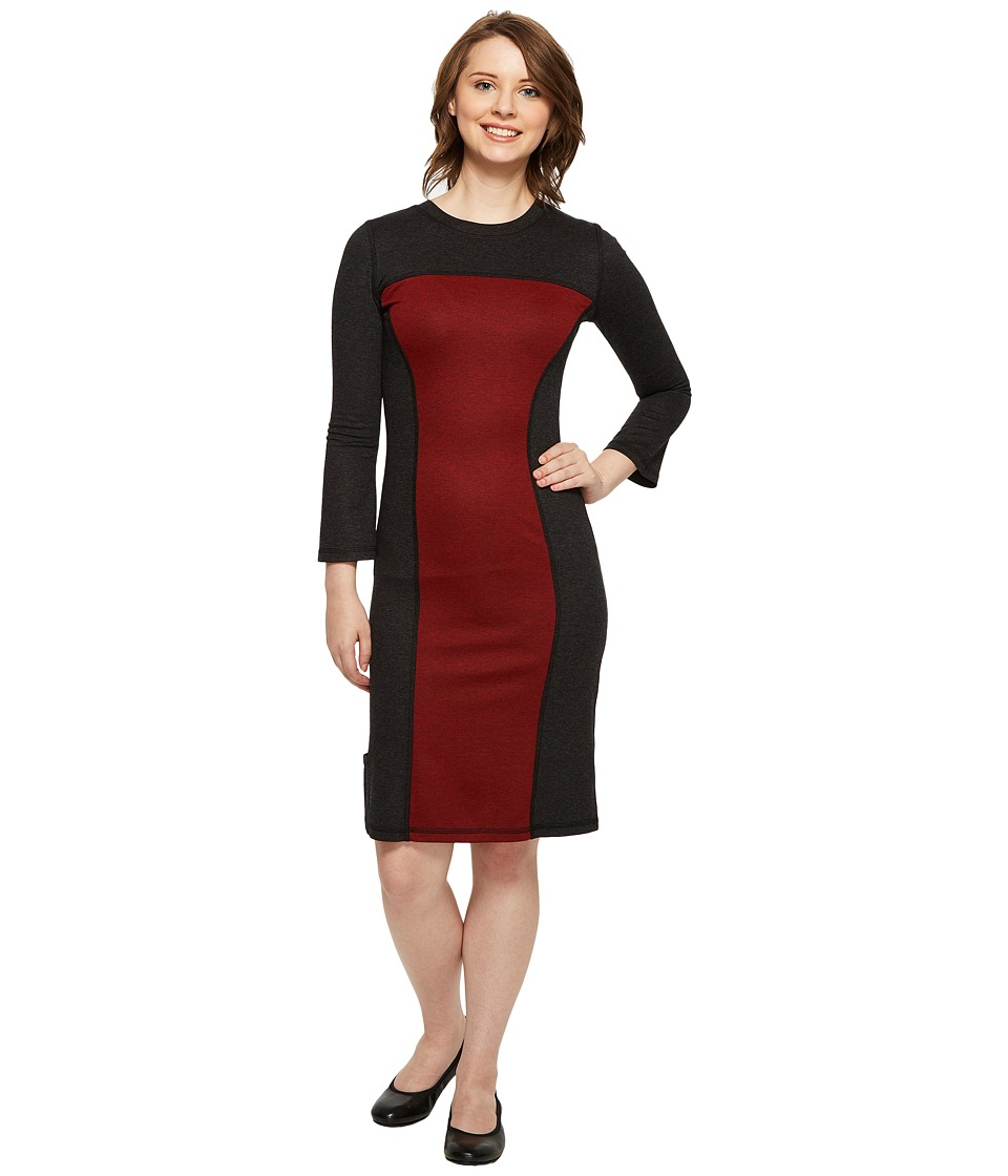 Independence Day Clothing Co - Reversible Long Sleeve Panel Dress (Charcoal/Red Wine) Womens Dress