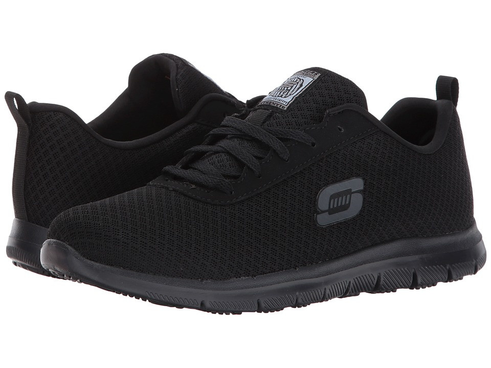 SKECHERS Work - Ghenter - Bronaugh (Black Mesh/Water/Stain Repellent Treatment) Womens Lace up casual Shoes