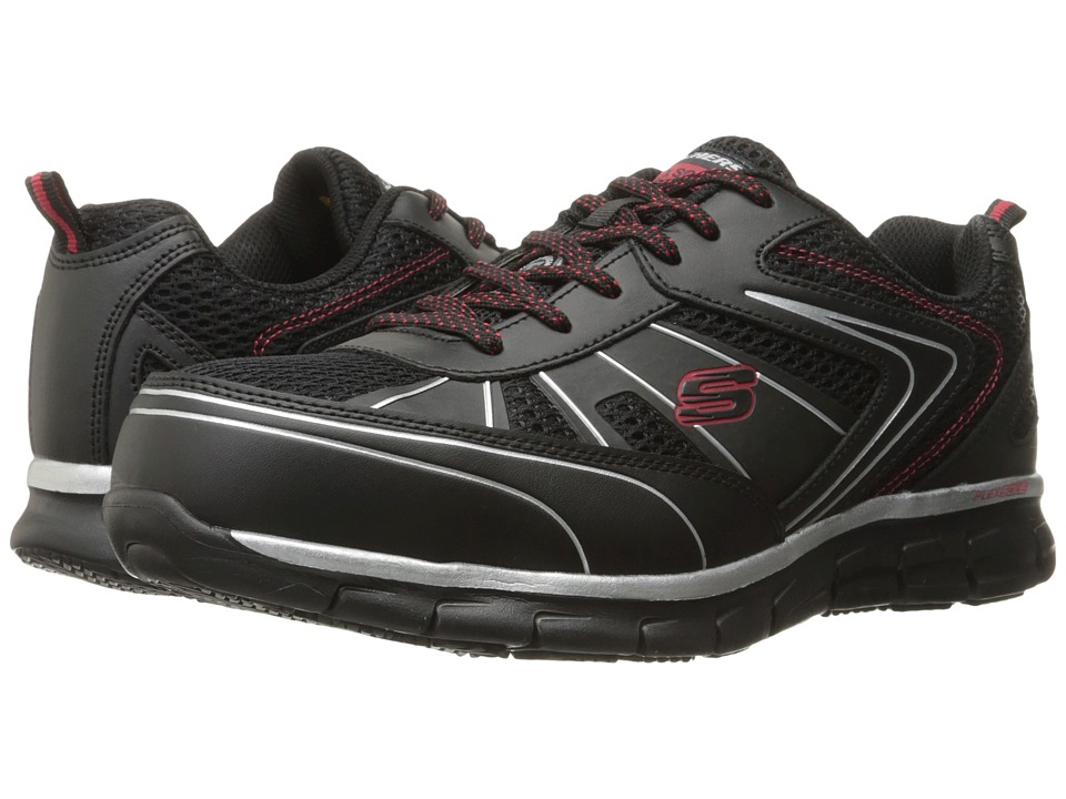 SKECHERS Work Synergy Fosston (Black Leather/Mesh/Red Trim) Men
