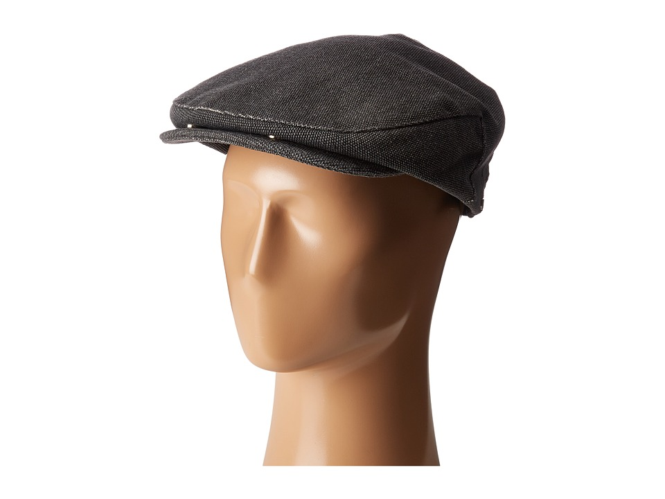 1930s Style Mens Hats Brixton - Seth Snap Cap Washed Black Caps $42.00 AT vintagedancer.com