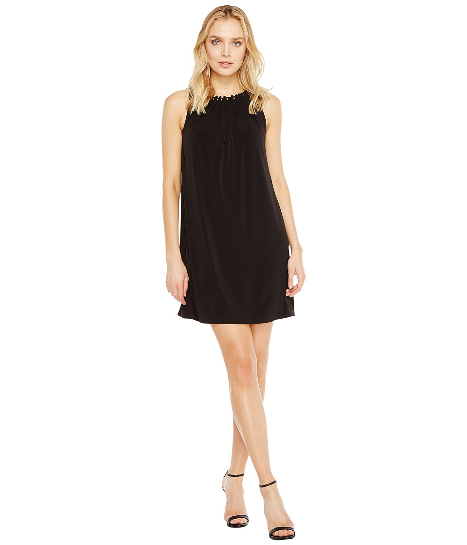 Tahari by ASL Jersey Shift Dress with Gold Necklace (Black) Women
