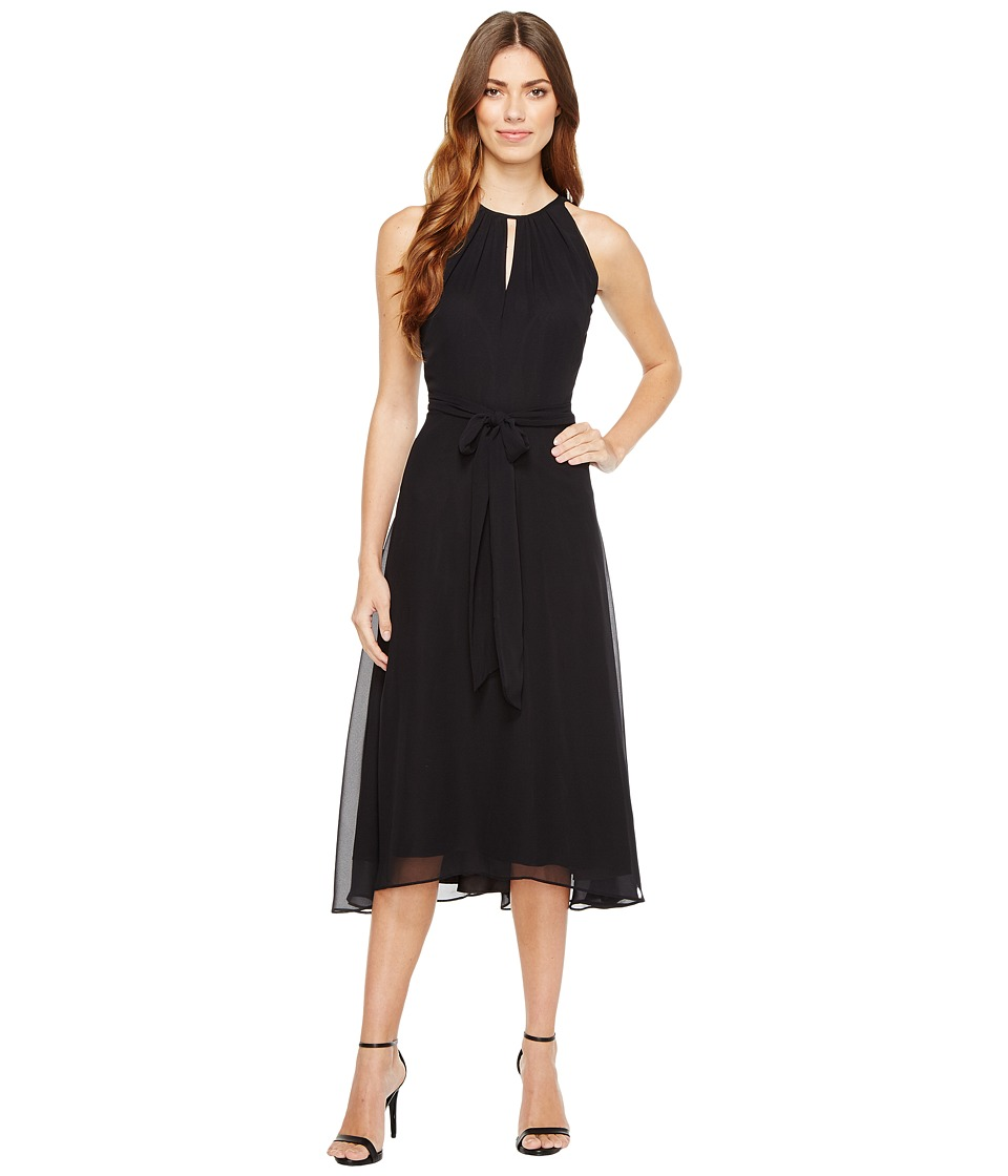 Tahari by ASL Tahari by ASL - Chiffon Tea-Length Keyhole Neck Dress