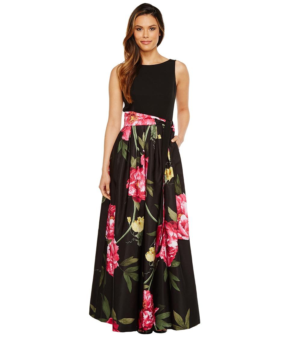 Tahari by ASL Floral Skirt Sleeveless Ballgown (Black/Pink/Citrine) Women