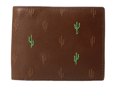 Fossil Kenny RFID Large Coin Pocket Bifold - Brown Cactus