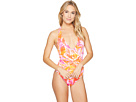 Lush Tropical Shaping Plunge Twist One-Piece w/ Removable Cups