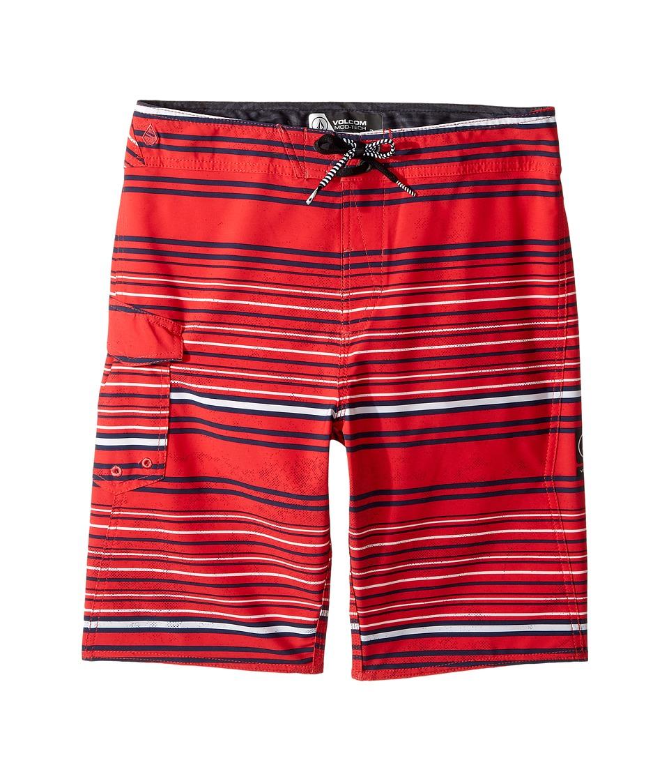 Volcom Kids Magnetic Liney Mod Boardshorts (Big Kids) (True Red) Boy