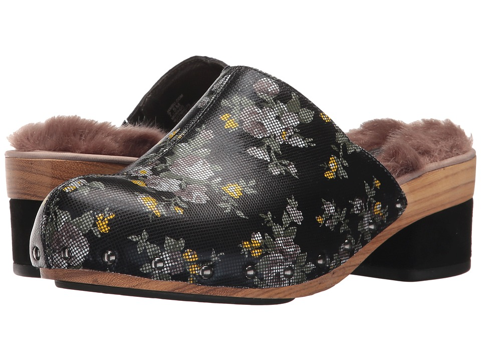 Jambu - Monaco (Dark Navy Floral Printed Leather/Faux Fur) Womens Clog/Mule Shoes